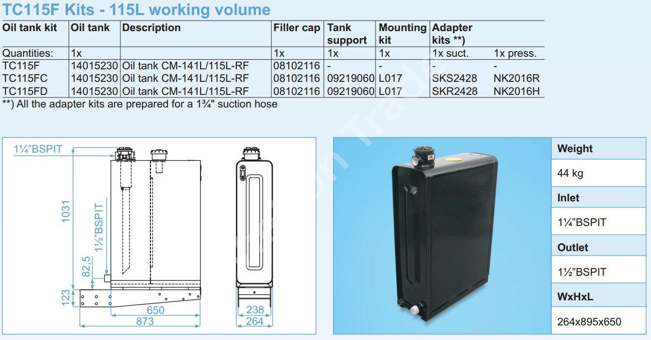 140-015-2320 Масляный бак Hyva CM-141L115L-RF