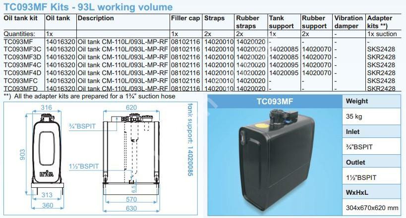 140-016-320 Масляный бак Hyva CM-110L093L-MP-RF