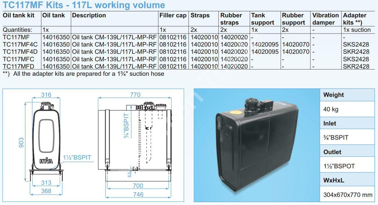 140-016-350 Масляный бак Hyva CM-139L117L-MP-RF