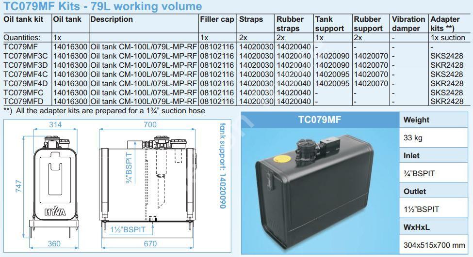 140-16-300 Масляный бак Hyva CM-100L079L-MP-RF