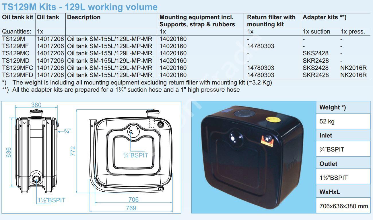140-17-206 Масляный бак SM-155L129L-MP-MR