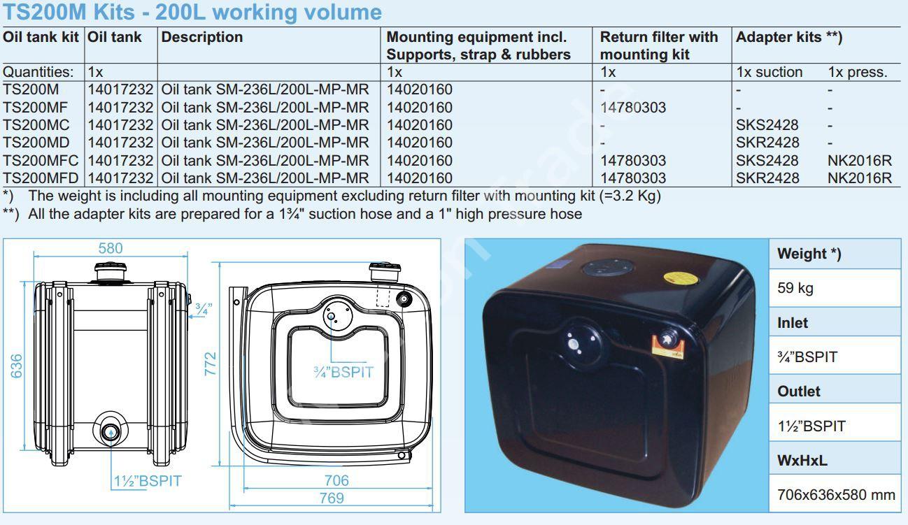 140-17-232 Масляный бак SM-236L-200L-MP-MR