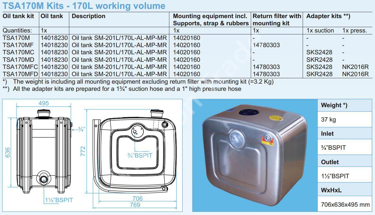 140-18-230 Масляный бак SM-201L-170L-AL-MP-MR