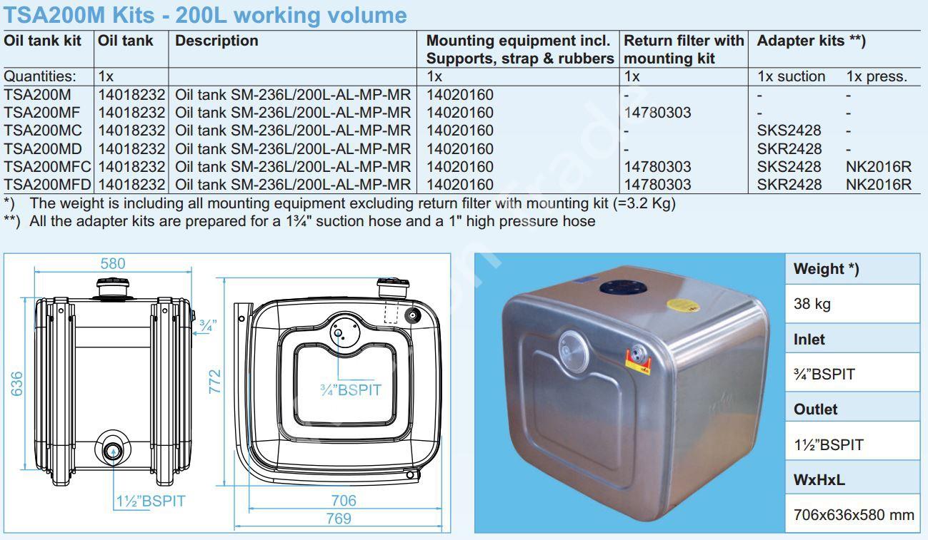140-18-232 Масляный бак SM-236L200L-AL-MP-MR