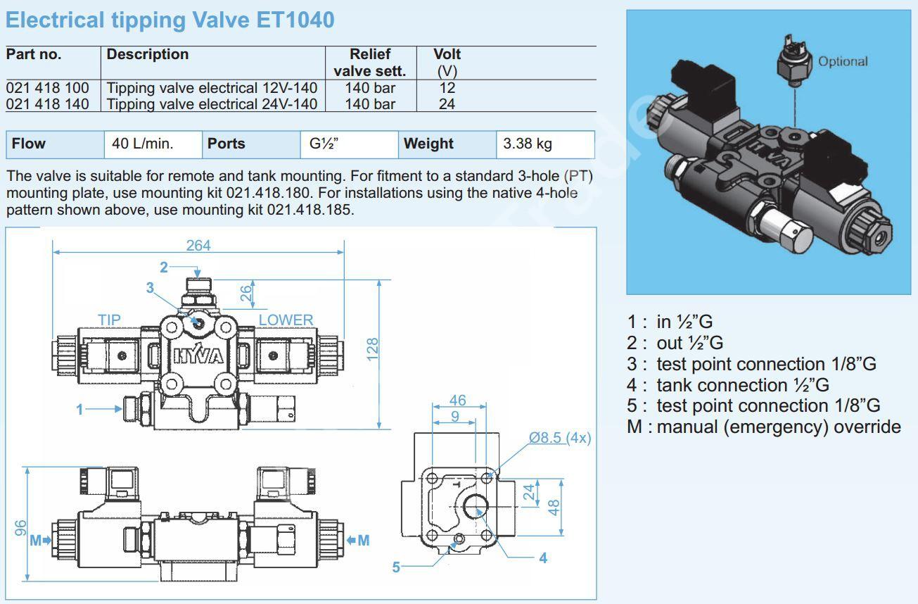 021-418-100 Клапан HYVA 12V-140