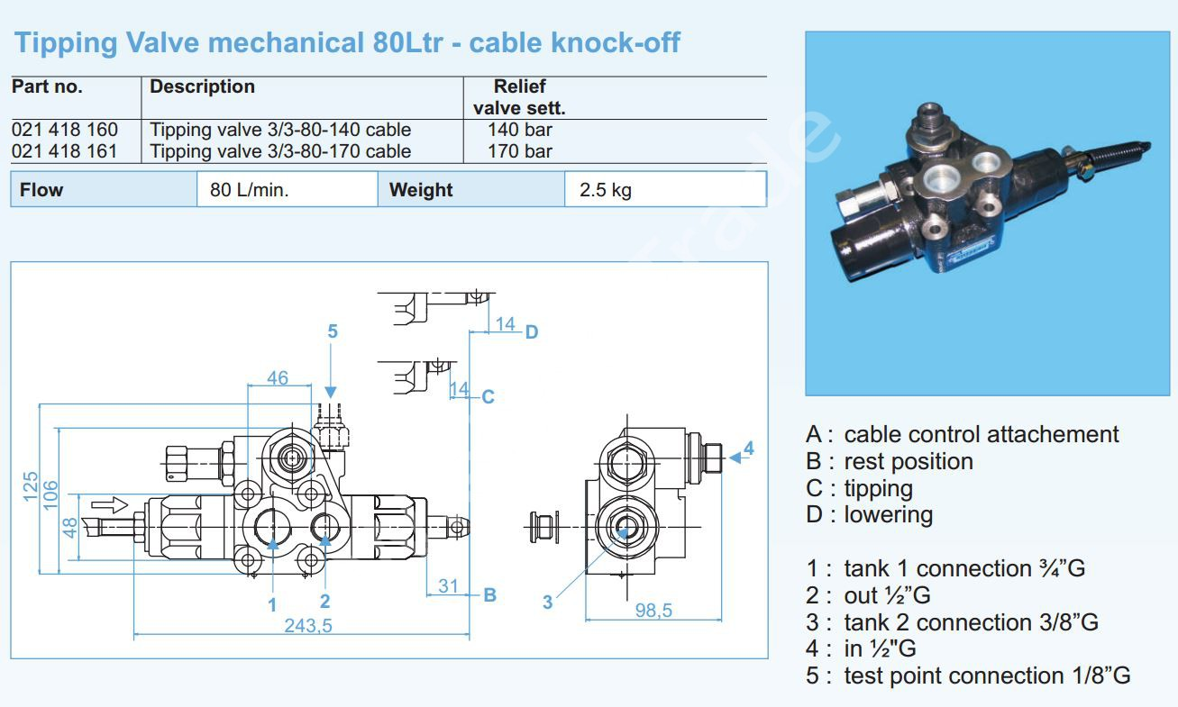 021-418-160 Клапан HYVA 3-3-80-140 cable