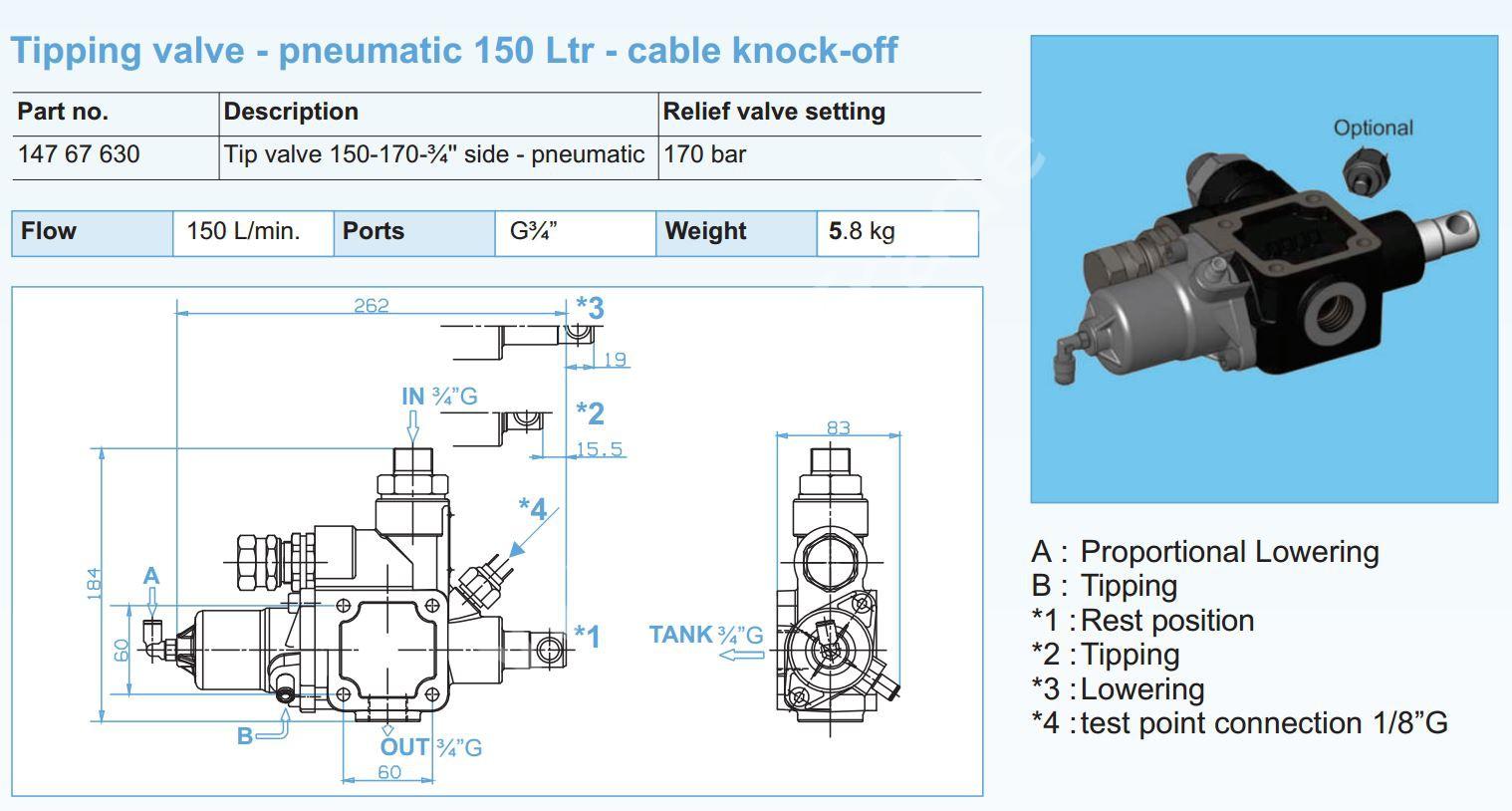 147-67-630 Клапан HYVA 150-170-3-4 side-pneumatic